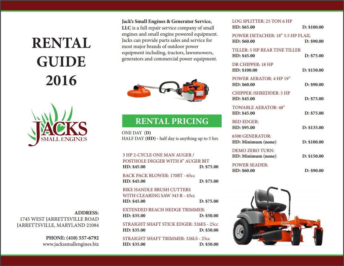 See our Rental Guide for rental costs.